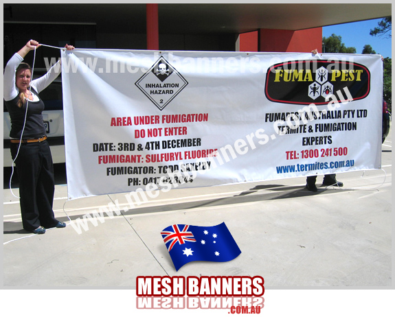 Building site and large plant facilities need notification of commercial spraying, pest fumigation and poisioning. This banner sign tied to the main gate entry explains dangerous notice. Mandatory Color and Emblem used.
