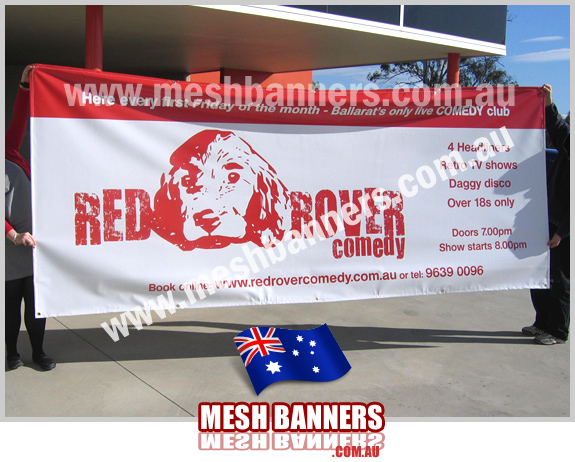 Red banner for comedy festival and promotion
