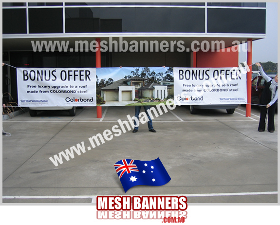 Display home banners, tied to fences and barriers