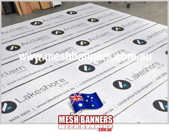 Two varieties of the fence mesh printing style for a SA Adelaide sign company