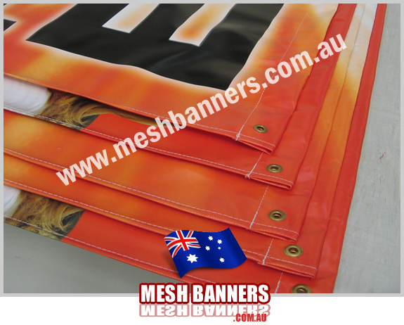 Group of outdoor banner signs - made with space slide in wood pole