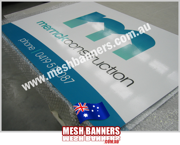 Metal builders site sign with fancy M logo
