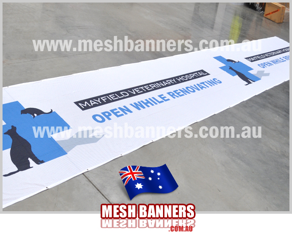 This flexible printed sign works well for renovation and upgrading hospital signage, vets, aged care etc. The banner ties to the temp fence hire panels.