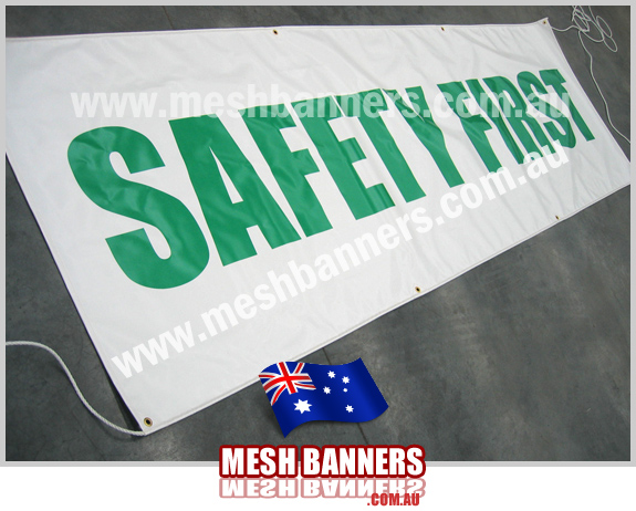 Safety First banner sign for fence