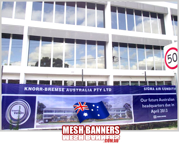 The mesh banner sign on the temporary perimeter fence during construction also shows the see through of the mesh banner sign supply