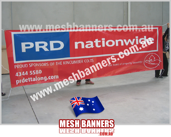 Big sponsor banner PRD sponsoring sporting event, this sign is used at various events during the year.
