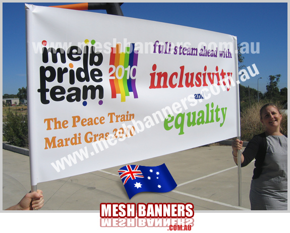 This banne is made to walk in front of the melbourne pride peace train mardi gras, looks good.